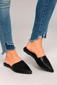 Laetitia Black Studded Loafer Slides