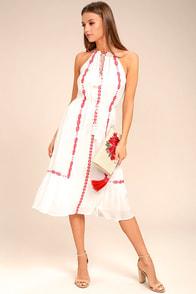 When You Smile White Embroidered Midi Dress