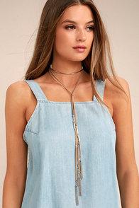 Music Maven Silver and Tan Layered Choker Necklace