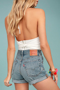 Levi's 501 Medium Wash Distressed Long Denim Shorts