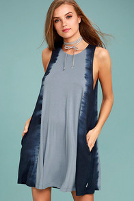RVCA Sucker Puncher Blue Tie-Dye Swing Dress