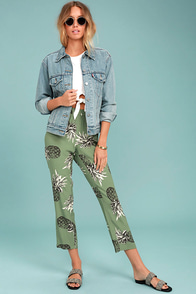 BB Dakota Issak Olive Green Pineapple Print Pants