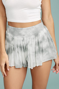 PPLA Alondra Grey Tie-Dye Shorts