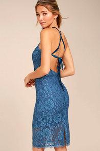 Wishful Wanderings Blue Lace Bodycon Midi Dress