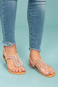 Libby Blush Pink Nubuck Thong Sandals