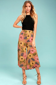 Billabong Can It Be Light Brown Floral Print Culottes
