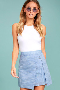 J.O.A. Connie Blue and White Striped Wrap Mini Skirt