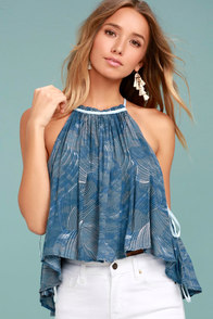 Free People Season in the Sun Blue Print Tank Top
