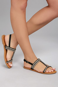 Brielle Black Rhinestone Sandals