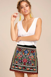 Don't Stop the Party Black Embroidered Mini Skirt