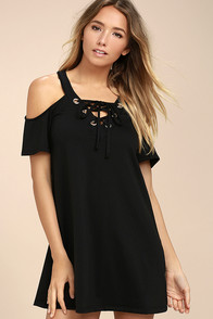 Shirina Black Lace-Up Dress