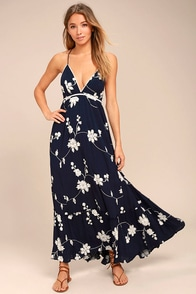 Winding Vines Navy Blue Embroidered Maxi Dress