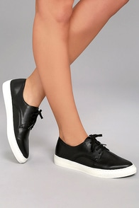 Missy Black Lace-Up Sneakers