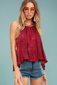 Free People Season in the Sun Berry Red Print Tank Top