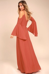 Glamorous Greeting Rusty Rose Maxi Dress