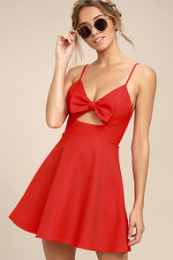 Better Bow-lieve It Red Skater Dress