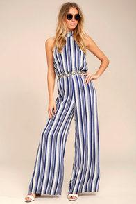 Oceanside Blue and White Striped Halter Jumpsuit