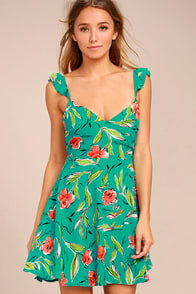 Guaranteed Glee Green Floral Print Backless Skater Dress