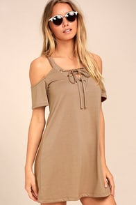 Shirina Taupe Lace-Up Dress