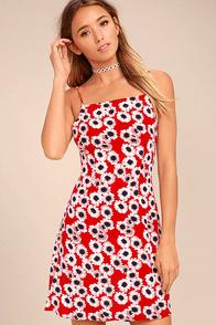 Rollas Bridget Red Floral Print Mini Dress