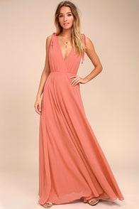 Dance the Night Away Rusty Rose Backless Maxi Dress