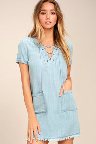 Awayday Blue Chambray Lace-Up Shift Dress at Lulus.com!