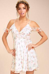 Chasing Butterflies White Floral Print Wrap Dress