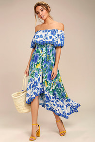 Antigua Blue Floral Print Off-the-Shoulder Dress