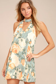 Part of Your World Dusty Sage Floral Print Swing Dress