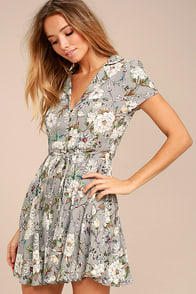 Fine and Dandy Grey Floral Print Dress
