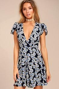 Rollas Dancer Navy Blue Floral Print Wrap Dress