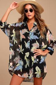 In the Tropics Sheer Black Tropical Print Shirt Dress