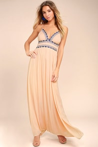 Giza Blush Pink Embroidered Maxi Dress