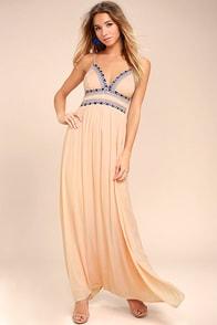 Giza Blush Pink Embroidered Maxi Dress