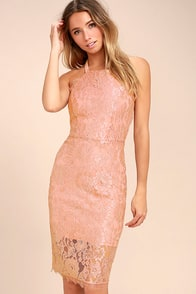Wishful Wanderings Blush Pink Lace Bodycon Midi Dress