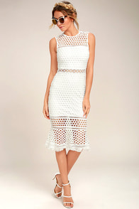Dawn of Love White Crochet Lace Midi Dress