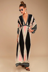 Montecito Black Print Maxi Dress