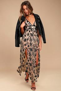 Somedays Lovin' Dusk Black and Nude Embroidered Maxi Dress