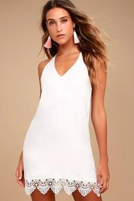 On the Terrace White Halter Dress