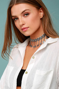 Masquerade Magic Silver Choker Necklace