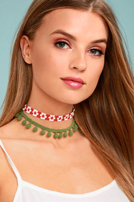 Mabel Red and Green Pom Pom Choker Necklace Set