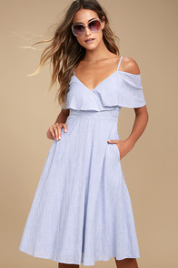 Yacht Rock Blue and White Striped Off-the-Shoulder Midi Dress