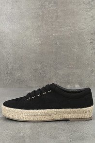 Pippa Black Suede Espadrille Sneakers