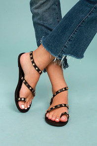 Alexi Black Studded Star Sandals