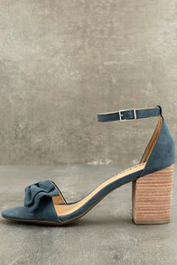 Sexy Blue Suede Heels - Ankle Strap Heels - Single Sole Heels - $25.00