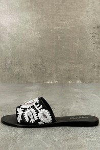 Seychelles Under Control Black Leather Embroidered Slide Sandals