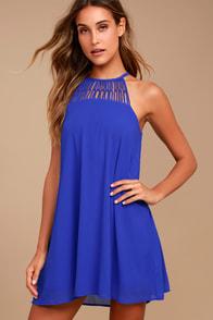 Tell Me Royal Blue Swing Dress