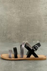 Haddie Black Metallic Gladiator Sandals