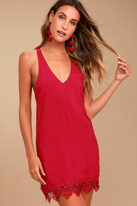 On the Terrace Red Halter Dress