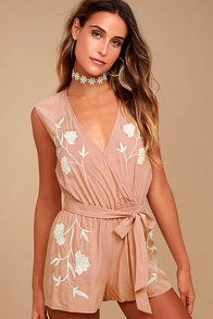 Playful Petals Blush Pink Embroidered Romper